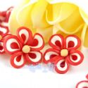 Small fimo flowers, Fimo, red, white, 19mm x19mm x 9mm, 1  piece, (DDH016)
